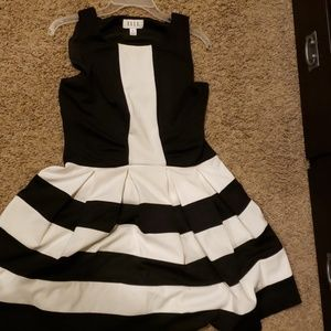 Black and white knee length dress